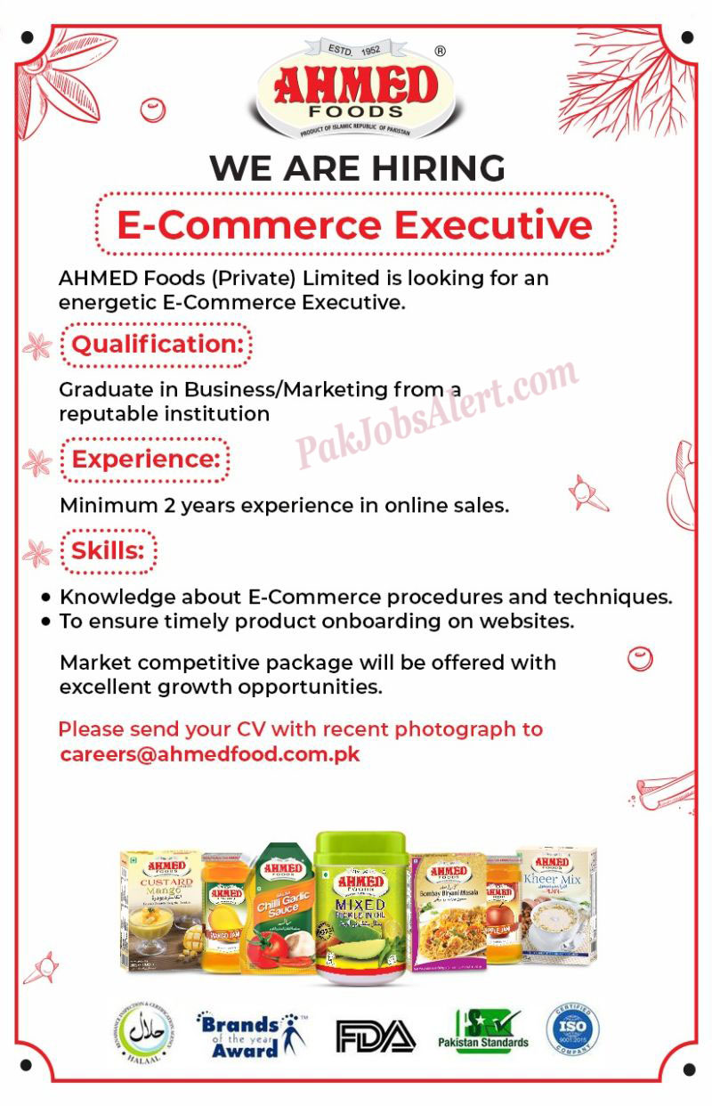 Ahmed Foods Private Limited Jobs 2021
