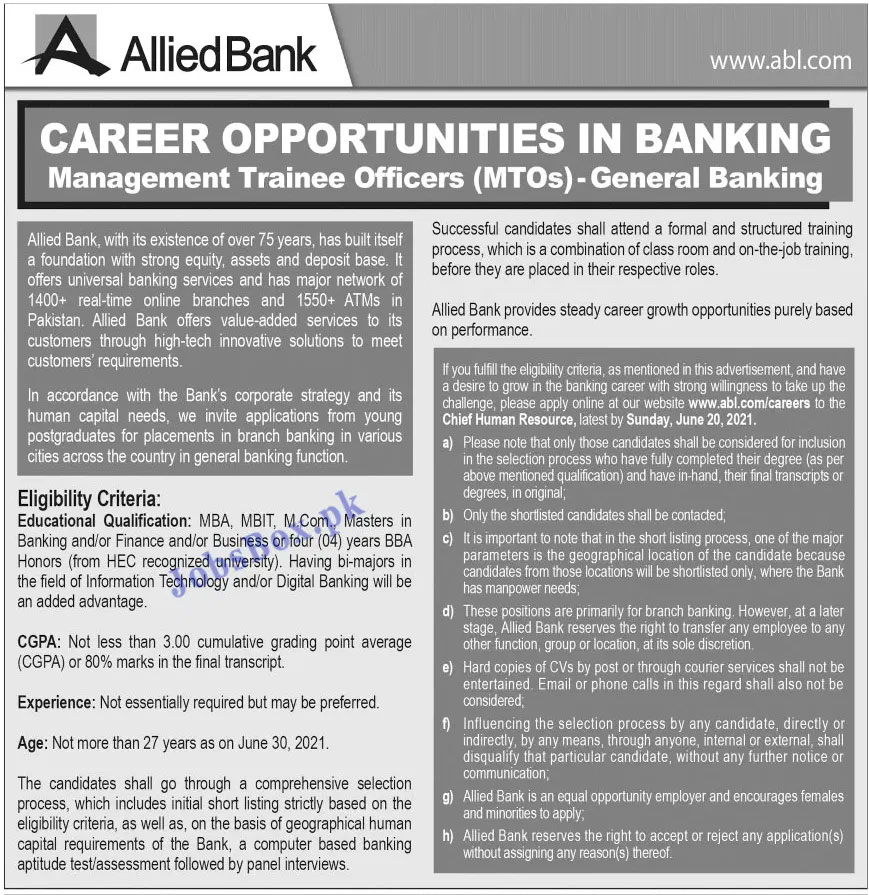 Allied Bank Limited ABL Jobs 2021