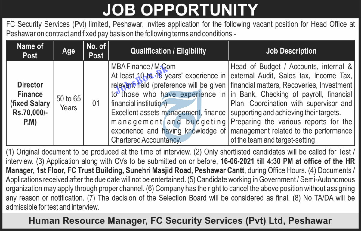 FC Security Services Primate Limited Peshawar Jobs 2021