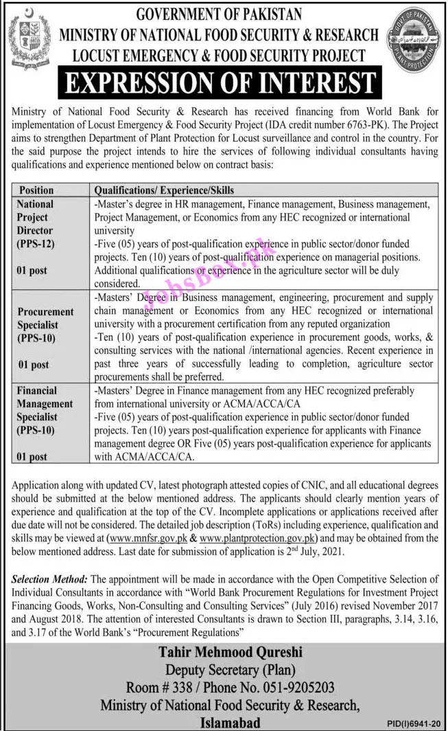 Ministry of National Food Security & Research Jobs 2021