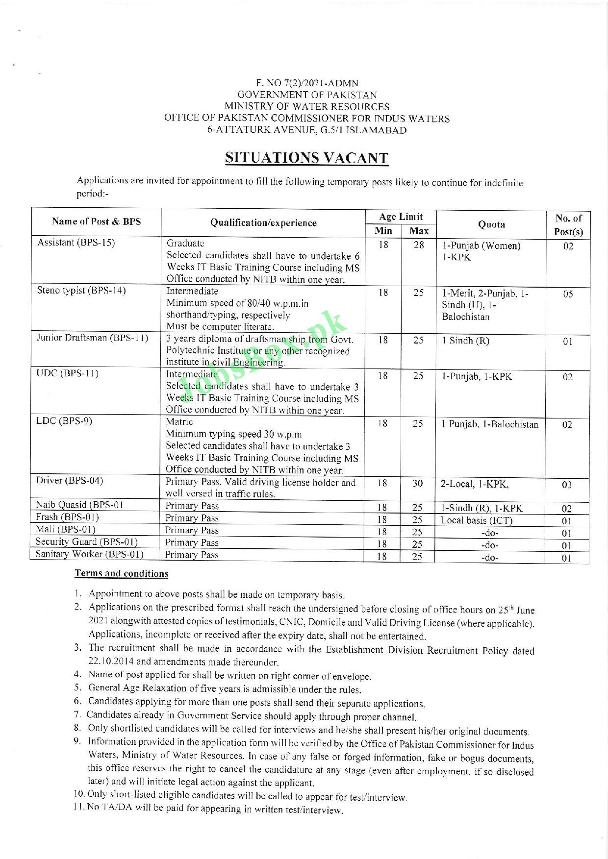 Ministry of Water Resources MOWR Jobs 2021