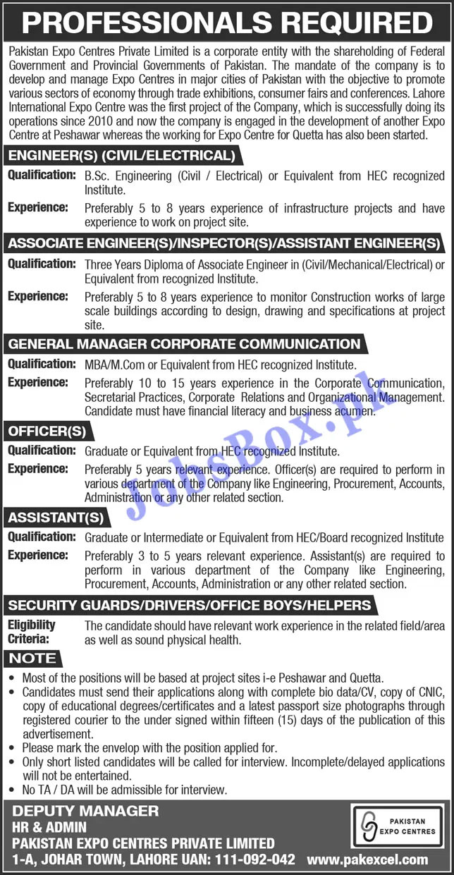 Pakistan Expo Centres Private Limited Jobs 2021