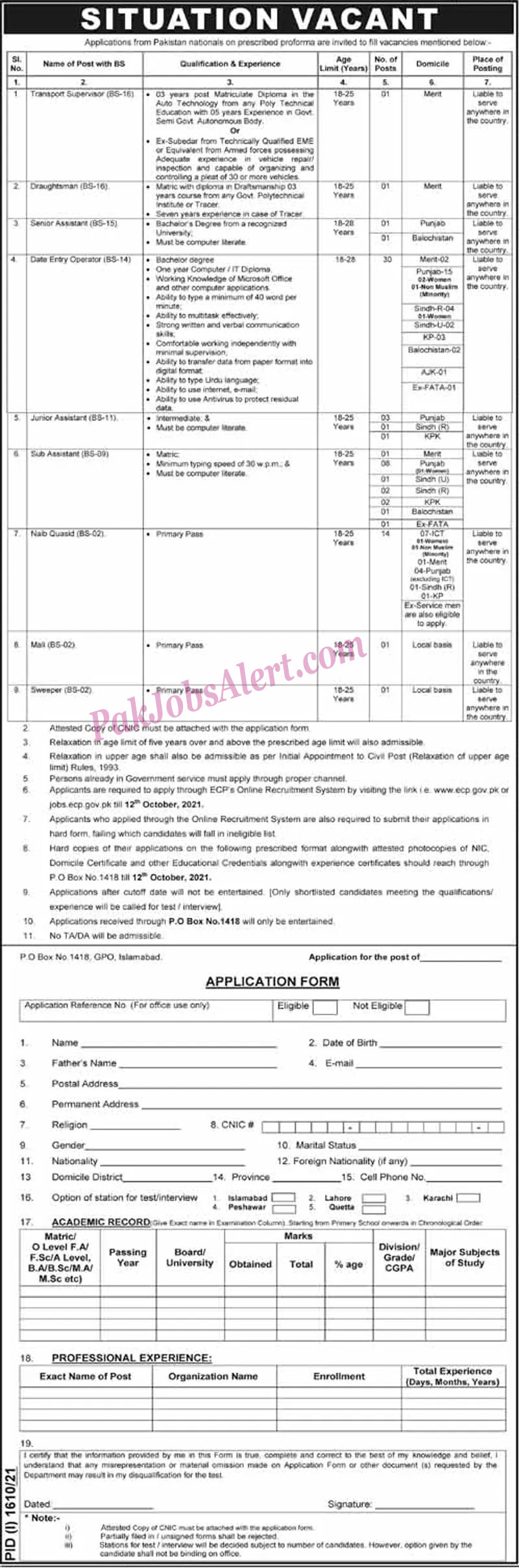 Election Commission of Pakistan ECP Jobs 2021